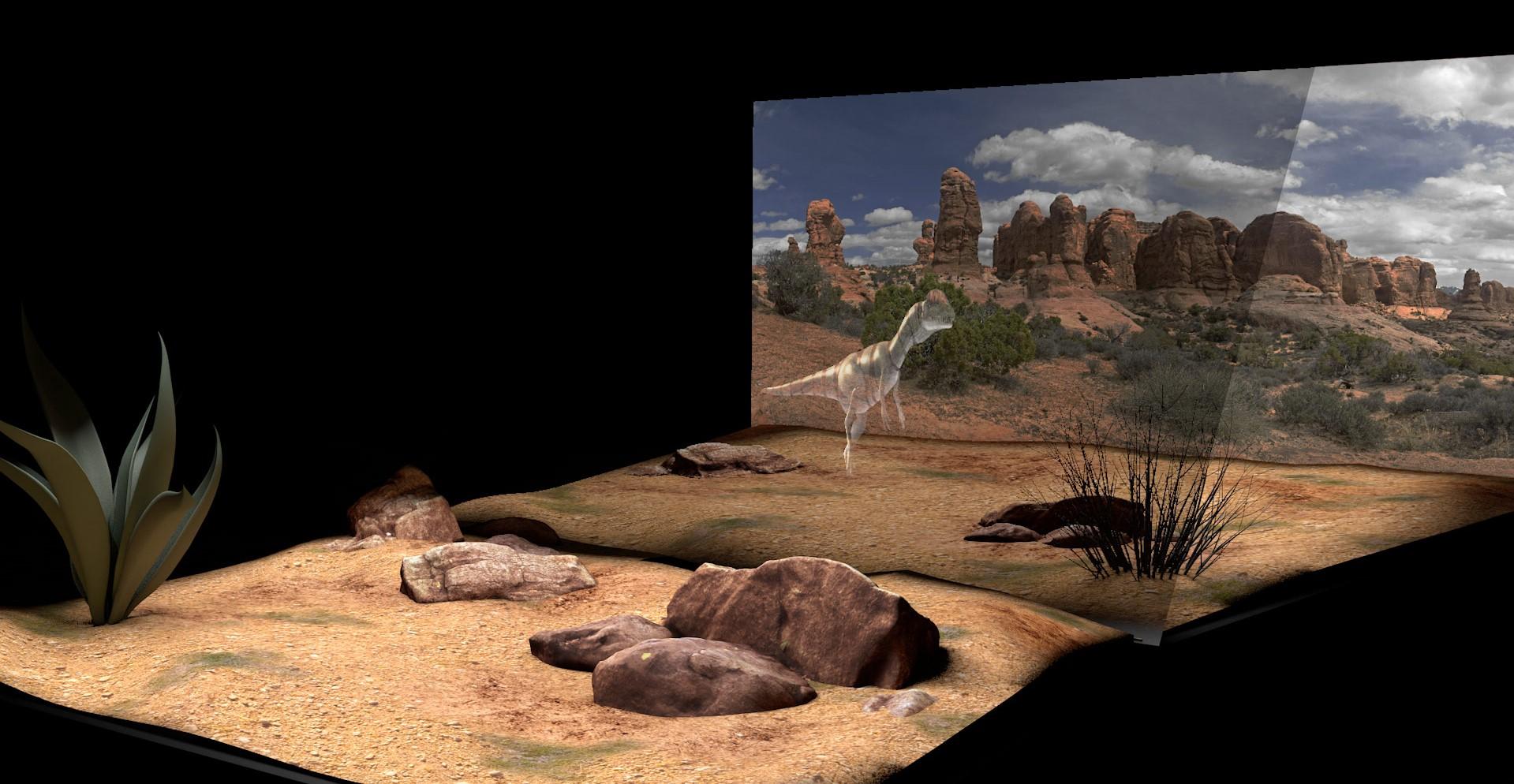 Représentation 3D du dispositif de théâtre optique